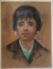 FRANCOIS DEZIEL 1914-1992 CHARCOAL PAINTING PAPER LA RONDE 1967 CANADIAN ARTIST