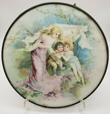 """Rare Antique Mother And Children Litho Flue Cover """"The Storm"""" 1907"""