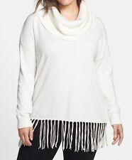 Nwt~Michael Kors Plus~Cream Cowl Neck Sweater w/ Fringe~Size 3X~New~$110