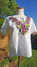 Mexican Oaxacan  rich floral embroider peasant top bohemian blouse Medium/ Large