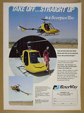 1972 RotorWay Scorpion Too Helicopter 3x color photo vintage print Ad