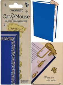 Cat & Mouse Bookmark Brass Page Marker Set Metal Stationery Study Reading Gift