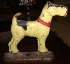 Rare Antique Fox Terrier Dog Cast Iron Door Stop Hubley Circa 1930's