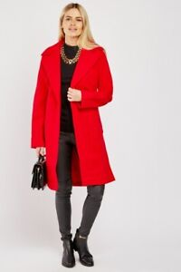 NEW Red Jacket Size 12-14 Trench Duster Coat Womens Long Ladies Pockets Belts