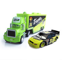 2pc-Cars No.34 Trunk Fresh Mack Hauler Truck & Racer Diecast 1:55 Loose Toy Car