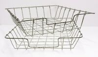 Lot of Two Wire Tray Desk Paper Inbox Baskets Vintage Retro Office Organisers