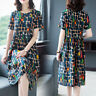 Women Plus Size A Line Short Sleeve Printed Loose Round Neck Summer Party Dress