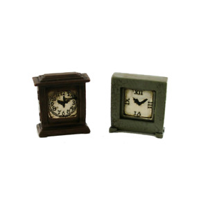 Dolls House 2 Aged Resin Mantle Clocks Miniature 1:12 Scale Ornament Accessory