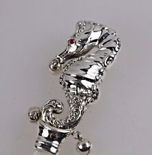 Collectable Vintage Silver Seahorse Ruby Baby Babies Rattle Teether