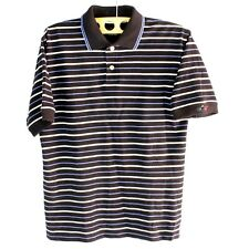 GREG NORMAN Polo Size M Men Collection Striped Navy Blue Country Club Golf Shirt