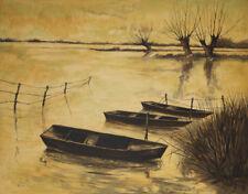 Eric PEYROL-Lithographie originale signée-Barques dans le marais
