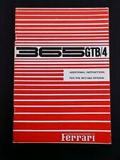 Ferrari 365 Owners Manual Additional Instructions GTB/4 Daytona Book 47/71 OEM