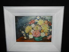 Flower Oil Painting Canvas Board Signed Kerecman White Frame