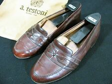 Vintage a. testoni Men's Leather Loafers Shoes w/Leather Trim & Dustbag Size 6