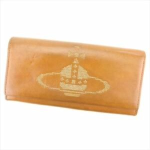 Vivienne Westwood Wallet Purse Orb leather Brown Woman Authentic Used I498