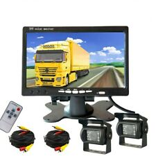 """2x Rear View Backup Camera System Night Vision + 7"""" LCD Monitor For Truck RV Bus"""