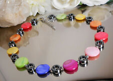 Collier Perlmutt Muschelperlen + Hämatit Ringe / bunte Farben