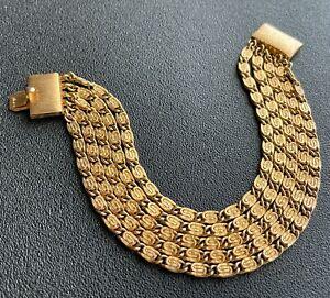Signed NAPIER Vintage Retro Gold Tone Multi Row Chain Link Bracelet 809