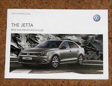 2012 VW JETTA Price & Specification Guide Brochure - Sport, SE, S, BlueMotion