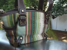 Fossil Canvas Handbag with Brown Leather Trim Antique Gold Hard wear
