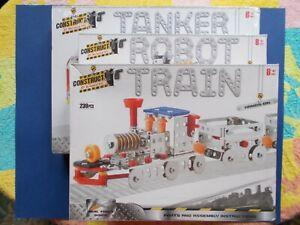 "CONSTRUCT - DIY MECHANICAL KITS x 3 ""TANKER"", ""TRAIN"" & ""ROBOT"" - INCLUDES TOOLS"