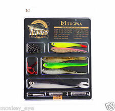 DROP SHOT KIT INC SOFT SHAD MINNOW BAIT,HOOKS,WEIGHT,FOR BASS,PERCH WALLEY