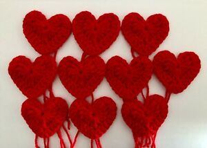 10 NEW HANDMADE  CROCHET HEARTS RED SIZE 6 CM