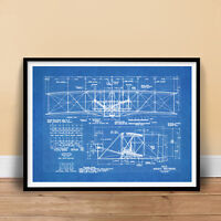 WRIGHT FLYER FIRST AIRPLANE 1903 BLUEPRINT ART 18x24 POSTER BROTHERS (unframed)