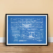 WRIGHT FLYER FIRST AIRPLANE 1903 BLUEPRINT ART 18x24 PRINT POSTER BROTHERS