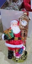 2016 Santa w/ Grandfather Clock Poland Hand Made Glass Christmas Ornament MINT