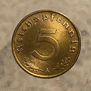 GERMAN 1939 A    world war two     5  Reichspfennig TOP COIN