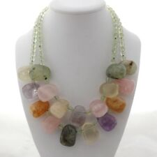 18'' 2 Strands Prehnite Rose Quartz Citrine Amethyst Necklace