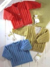 "Crochet Pattern Baby Cardigans & Sweater  16"" - 26"" 4 Ply"
