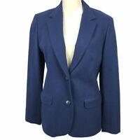 Pendelton Women's Blazer Jacket Size 14 Navy Blue 100% Wool 2 Button Sport Coat