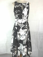 BHS Sophie Grey Black and White Dress with Floral Pattern Size 12 (D12)