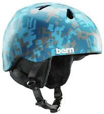 Bern Nino Boys Kids Snow Bike Skate Helmet Blue Camo XS-S 48-51.5cm