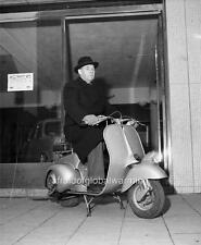 Photo. ca 1951. Sweden.  Man Sitting on Vespa