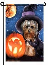 YORKIE WITCH painting GARDEN FLAG Dog Halloween PUMPKIN Autumn Yorkshire Terrier