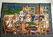 """Dogs Playing Poker Cotton 58"""" by 40"""" Tapestry Made in Turkey"""