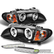 For 02-05 Bmw E46 3-Series 4Dr Black Halo Projector Headlights+Smd Bumper Lights