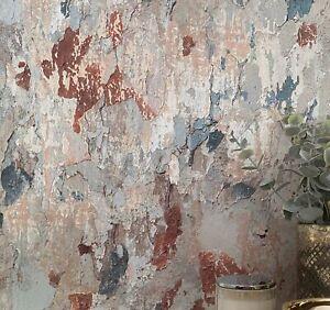 Flaking Plaster Effect Wallpaper in Brown, Green/Blue & Grey