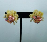 Vtg. 40's Molded Plastic Celluloid Flower Petal Clip On Earrings Stunning & Rare