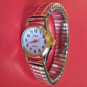 Damenuhr Quartz Uhr Zug Armband Damenarmbanduhr Edelstahl bicolor Silber GEPRÜFT