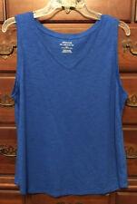 Chico's Majestic Blue Andi Slubbed Cotton V-neck Tank Size 2 12/14 M/l