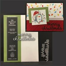 Old Fashioned Merry Christmas die Poppystamps dies 1643 words,phrases,Holidays