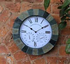 Outdoor Station Garden Wall Clock Thermometer Hand Painted, 15 Inch Slate Effect
