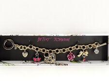 Betsey Johnson Ladybug Heart Charm Bracelet Goldtone Toggle New in Box!