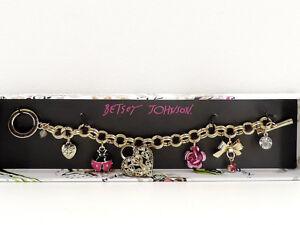 Betsey Johnson Ladybug Charm Bracelet Goldtone Toggle New in Box!