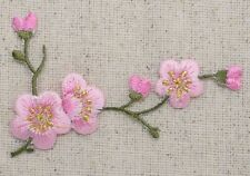 Iron On Patch Embroidered Applique Pink Flowers Cherry Blossom Green Stem RIGHT