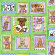 Cuarto gordo Boyds Bears pequeños Paneles Algodón Colchas de retazos de tela-Spx